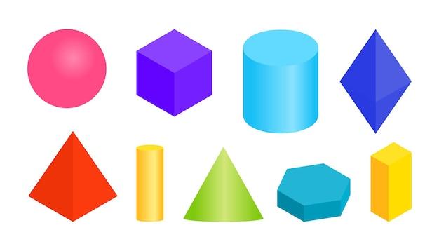 Gekleurde gradiënt volumetrische geometrische vormen verschillende eenvoudige basis d figuur isometrische weergaven bol ...