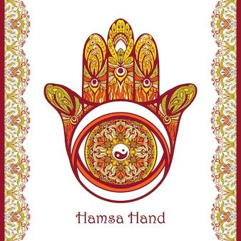 Gekleurde hamsahand