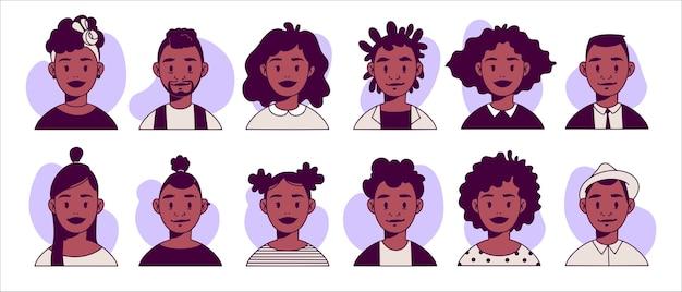 Gekleurde hand getekend vector avatars van jonge mannen en vrouwen met verschillende kapsels en outfits.