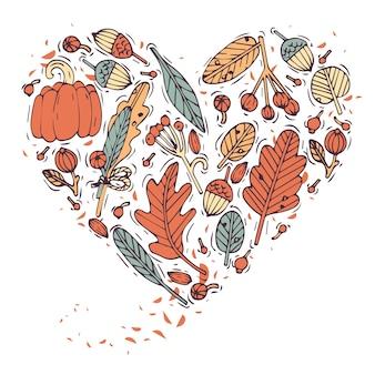 Gekleurde hand tekenen plant en bladeren hartvorm. gegraveerde stijl wenskaart. herfst oogstfeest. illustratie.