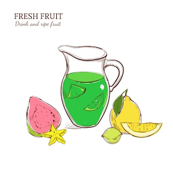 Gekleurde handgetekende exotische limonade concept