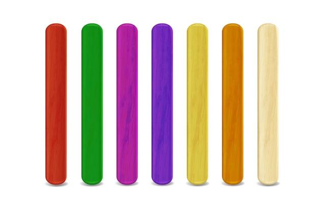 Gekleurde houten stokjes voor ijslolly en popsticks