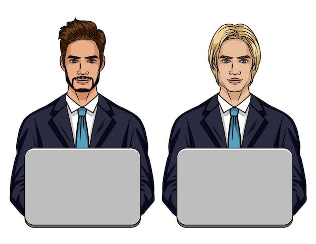 Gekleurde illustratie van een jonge man zit op kantoor achter een computer. een commercieel team van twee mannen in een pak werkt in het kantoor geïsoleerd van witte achtergrond