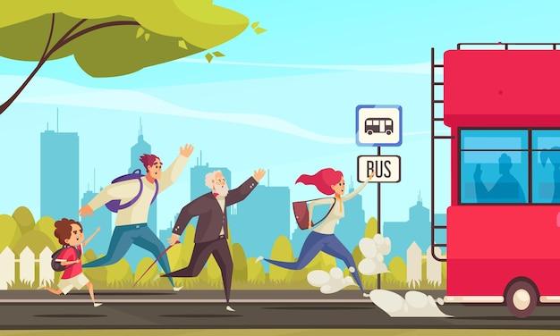 Gekleurde illustratie van rennende mensen die achter de bus aanlopen bij cartoon van het stadslandschap