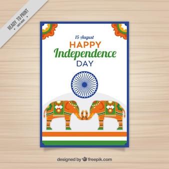 Gekleurde Indiase onafhankelijkheidsdag brochure
