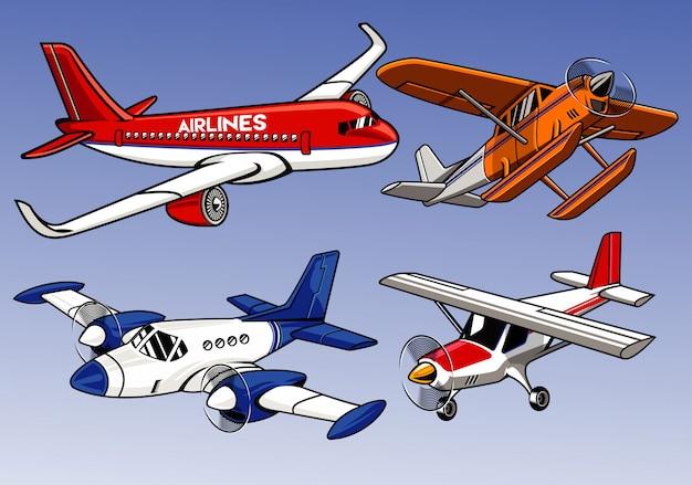 Gekleurde inzameling van modern vliegtuig