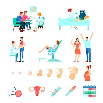 Gekleurde isometrische vroedvrouw verloskunde draagtijd icon set met stadia van de zwangerschap en het zien van een arts