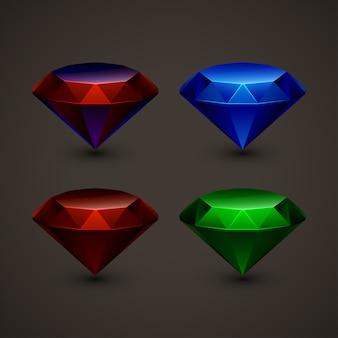 Gekleurde juwelen in set