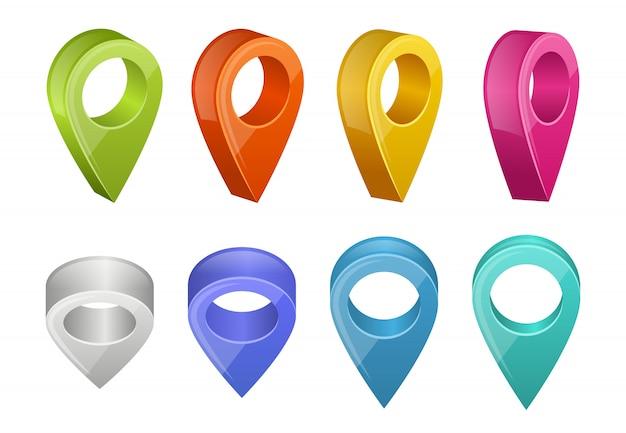 Gekleurde kaartaanwijzers. verschillende kleuren gps navigatie-aanwijzers