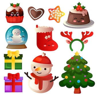 Gekleurde kerst element icon set