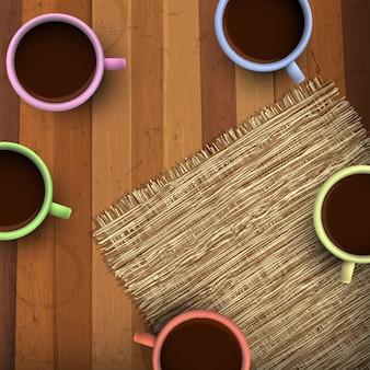 Gekleurde kop koffie op houten