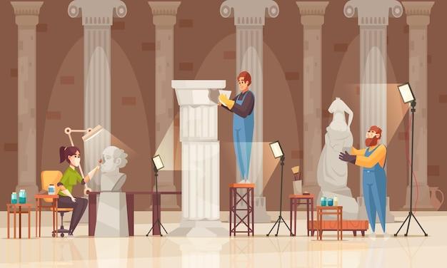 Gekleurde kunstenaar restaurateur museumcompositie met drie personen werken aan het beeld