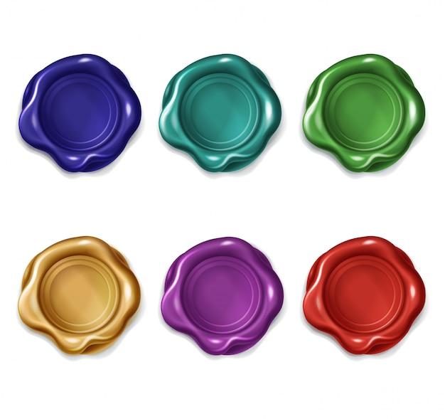 Gekleurde lakzegelstempels voor brief, document, certificaat