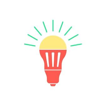 Gekleurde led-lamp met groene lichtflits. concept van halogeen, uitvinding, helderheid, verlichten, energiebesparing. geïsoleerd op een witte achtergrond. vlakke stijl trend logo ontwerp vectorillustratie