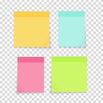 Gekleurde lege papieren notitiestickers ingesteld voor kantoortekst of zakelijke berichten. vector illustratie