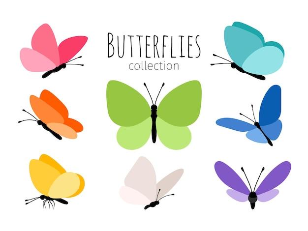 Gekleurde lente vlinders. abstracte tekening kleur vliegende vlinder set voor kinderen vectorillustratie geïsoleerd op een witte achtergrond