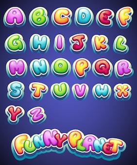 Gekleurde letters voor decoratie van verschillende namen voor games. boeken en webdesign