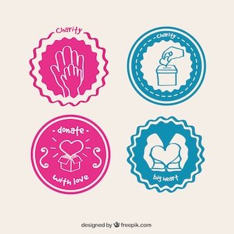 Gekleurde liefdadigheid labels