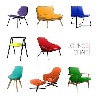 Gekleurde lounge chair set