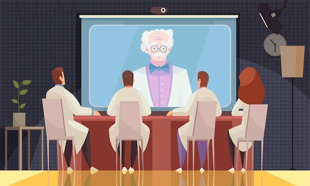 Gekleurde medische conferentiesamenstelling met drie wetenschappers of artsen luisteren online naar de spreker