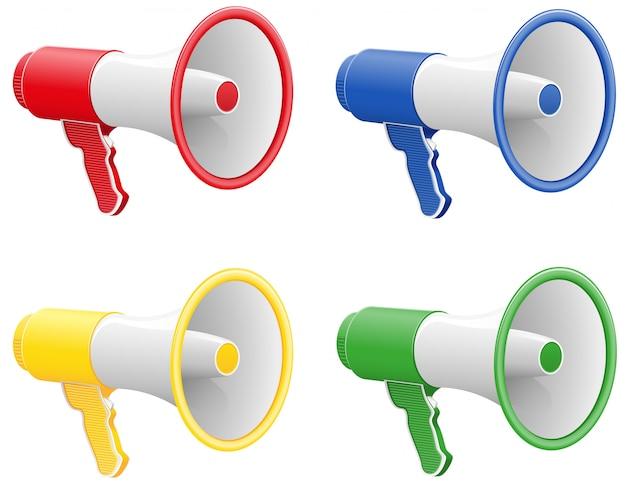 Gekleurde megafoons.