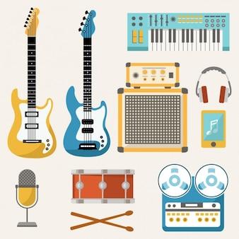 Gekleurde muziek elementen