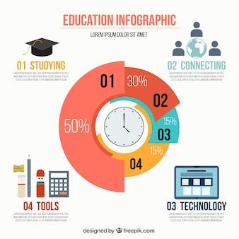 Gekleurde onderwijs infographic template