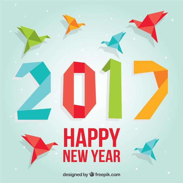 Gekleurde origami nieuwe jaar achtergrond