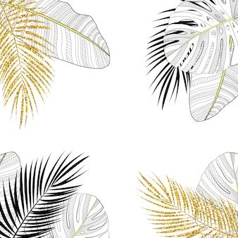 Gekleurde palmblad vectorillustratie als achtergrond. eps10