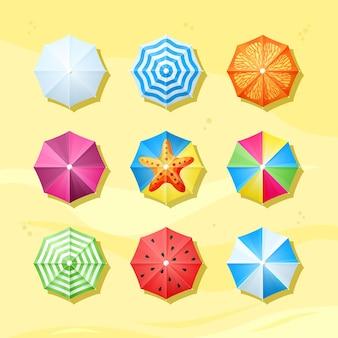 Gekleurde parasols bovenaanzicht set