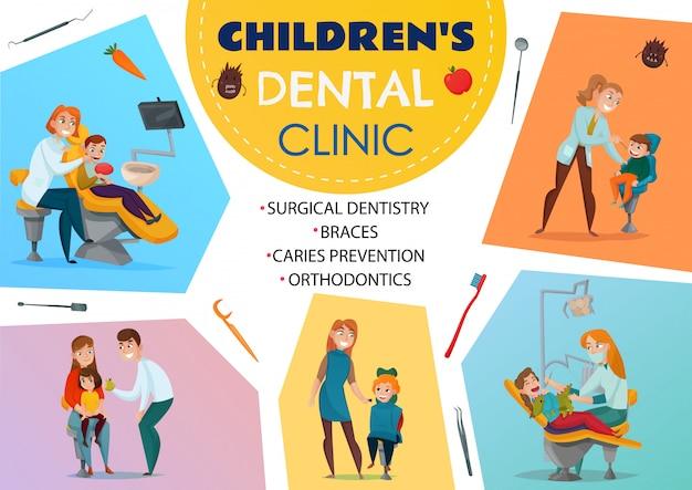 Gekleurde pediatrische tandheelkunde poster kinderen tandheelkundige kliniek orthodontie beugels chirurgische tandheelkunde cariës preventie