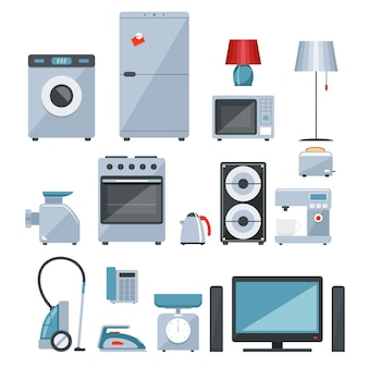 Gekleurde pictogrammen van verschillende soorten huistoestellen