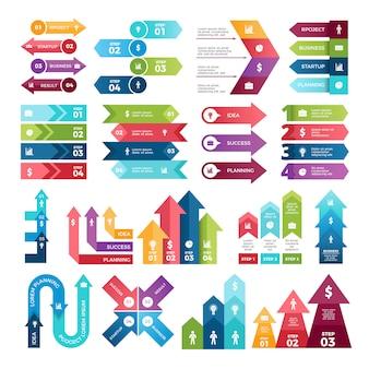 Gekleurde pijlen voor infographics.
