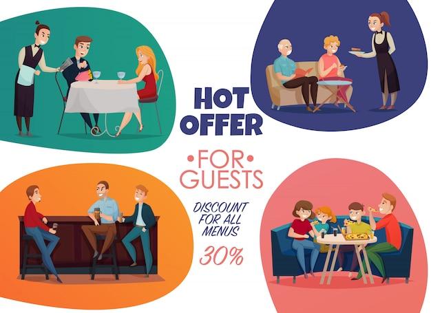 Gekleurde platte restaurant pub bezoekers poster met hete aanbieding voor gasten kortingen voor alle menu beschrijvingen