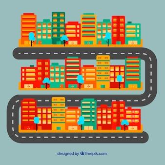 Gekleurde plattegrond van de stad met gebouwen en weg in het midden