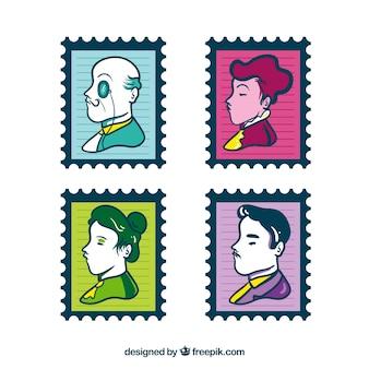 Gekleurde postzegels met decoratieve portretten