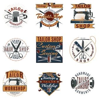 Gekleurde premium tailor shop-logo's instellen