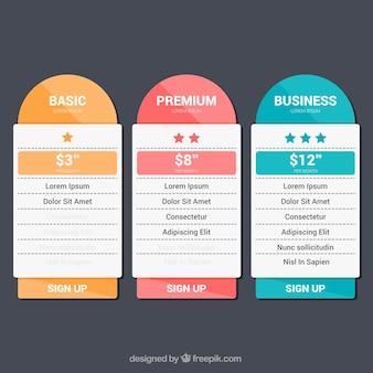 Gekleurde prijs banners in plat design