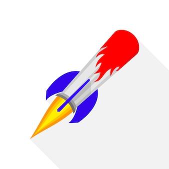 Gekleurde raket schip pictogram in platte ontwerp geïsoleerd op wit