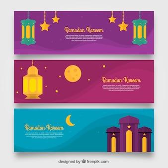 Gekleurde ramadan banners
