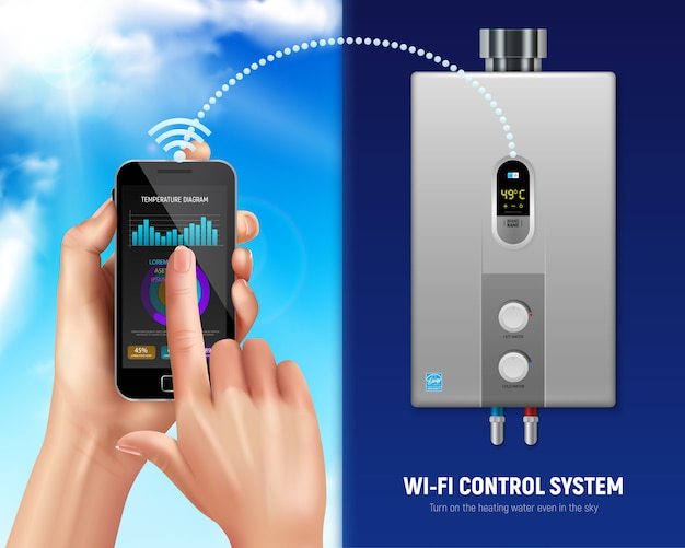 Gekleurde realistische boiler slimme illustratiesmartphone en boiler met wifi in slim huis