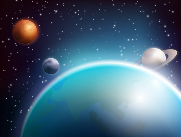 Gekleurde realistische ruimteachtergrond