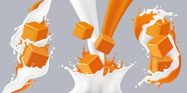 Gekleurde realistische spatten karamel icon set met karamel blokjes en melk spatten illustratie