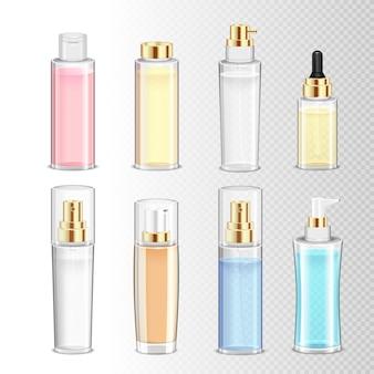 Gekleurde reeks realistische schoonheidsmiddelenflessen voor roomparfum en vloeistof op transparante achtergrond geïsoleerde illustratie