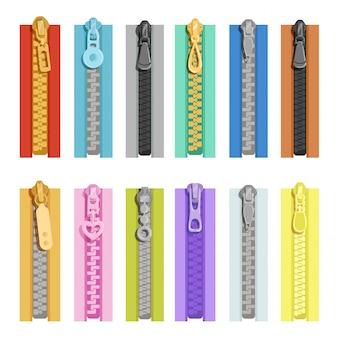 Gekleurde ritsen. hulpmiddelen voor kleding