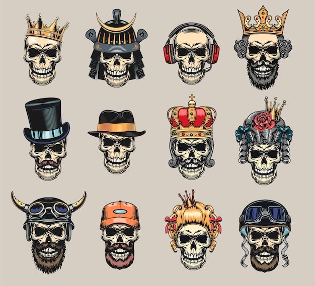 Gekleurde schedels set
