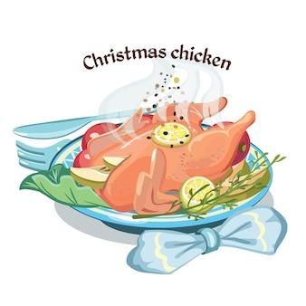 Gekleurde schets kerst gebakken kip sjabloon