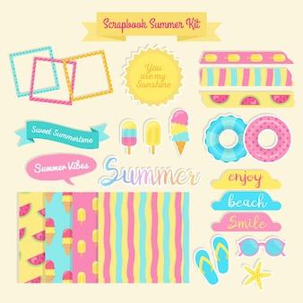 Gekleurde scrapbook zomer kit