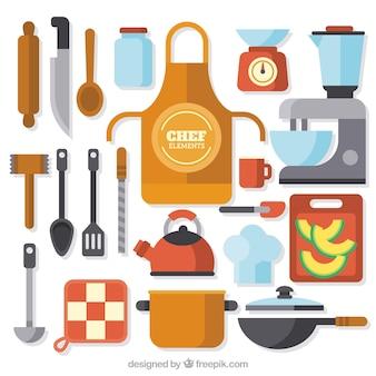 Gekleurde selectie van platte chef-kok elementen