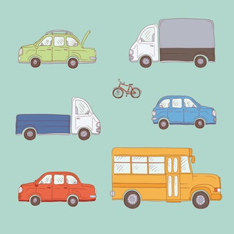 Gekleurde set schets illustratie vintage vrachtwagens en auto's. gele schoolbus, bedrijfsvoertuigen en personenauto's.